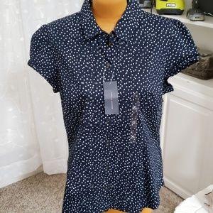 Tommy Hilfiger size XL navy polka dot top